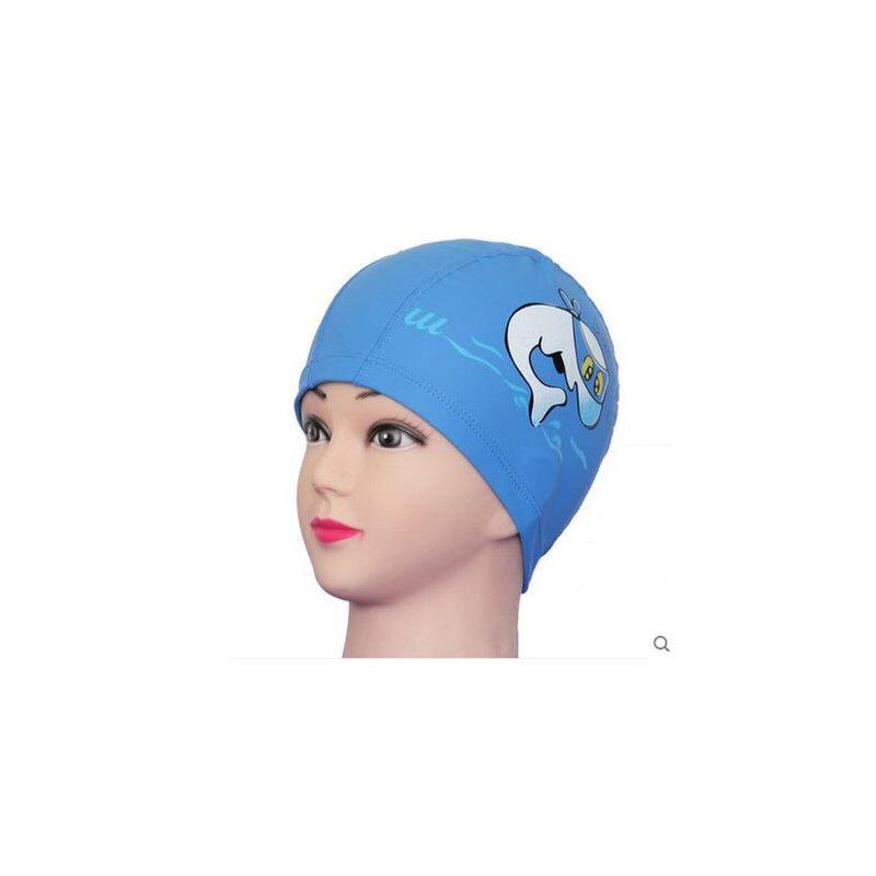 乐浪卡通儿童泳帽 女 长发 防水护耳男童女童幼儿宝宝游泳装备_蓝色