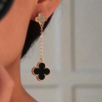 长款四叶草耳钉 无耳洞镶钻耳坠女 耳夹甜美耳饰耳环