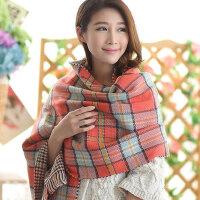 韩版时尚厚双层双面针织 女格纹千鸟格斗篷式披肩围巾