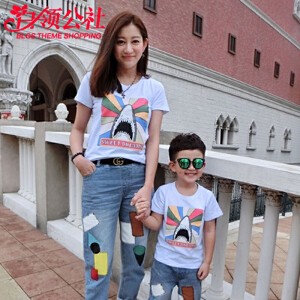 白领公社 亲子装 2017新款鲨鱼短袖男童t恤限时抢韩版卡通动漫休闲潮流一家三口母子套装