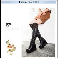王菲儿861-1高跟过膝长靴韩版显瘦厚底松糕内增高筒弹力靴女
