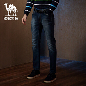 Camel/骆驼男装长牛仔裤 休闲棉质微弹中腰小直脚 拉链直筒小腿裤