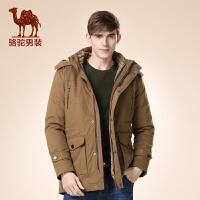 骆驼男装 冬款新款青年中长款纯色加厚可脱卸帽外套棉服男