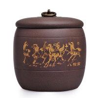 陶瓷故事 精品宜兴紫砂茶叶罐醒茶罐茶道配件八骏马普洱茶罐A1205