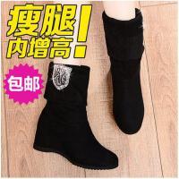 邻家天使 新款短靴 中跟马丁靴内增高坡跟绒面短靴休闲女靴806-30