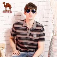 camel 骆驼男装 新款短袖T恤 男士美式休闲衬衫领t恤 修身款