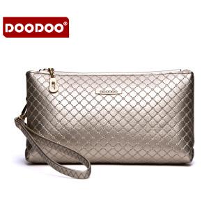 DOODOO 2017新款时尚包包女包欧美菱格简约单肩斜跨手包女包手拿包 D5121 【支持礼品卡】