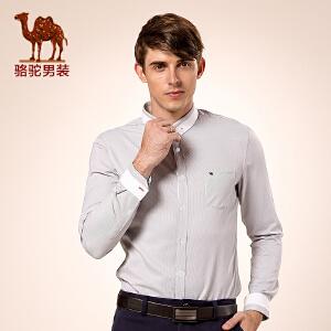 骆驼男装 秋季新款扣领尖领微弹纯色修身休闲长袖衬衫 男衬衣