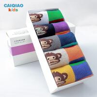 彩桥春季儿童袜子5双盒装纯棉男童袜子女童袜儿童棉袜春秋款宝宝卡通袜子学生袜