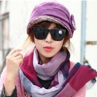 新品优雅蝴蝶结盆帽拼色围脖两件套潮韩版个性时尚休闲女士毛呢帽子围巾两件套