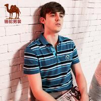 骆驼男装 新款短袖T恤 男士日常休闲条纹衬衫领t恤 潮