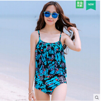 时尚性感女士泳衣 女士大小胸聚拢显瘦遮肚分体泳装 保守性感温泉游泳衣