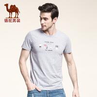 骆驼男装 新款夏季棉质休闲圆领青年青春活力短袖T恤男士