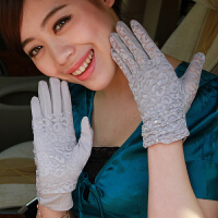 可拆卸双层蕾丝遮阳手套 女 薄 开车防滑防晒 手套