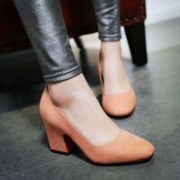 高跟鞋浅口鞋婚鞋方头黑色单鞋职业粗跟鞋