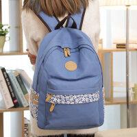 新款帆布双肩包女生书包中学生韩版背包电脑包潮学院风小清新