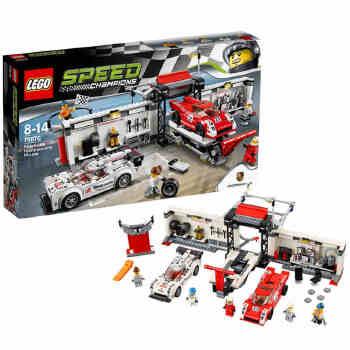 新品乐高超级赛车75876保时捷919混合动力和917k维修站 lego