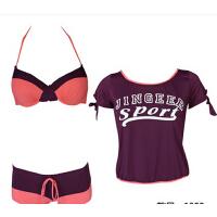 时尚性感女士泳衣三件套女小胸聚拢钢托分体比基尼平角温泉游泳衣