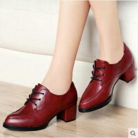 古奇天伦女鞋 新款尖头粗跟红色高跟鞋单鞋皮鞋英伦风鞋子8139
