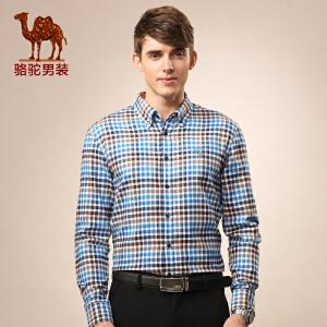 骆驼男装 秋季尖领格子休闲水洗青年长袖衬衫 男士衬衣