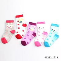 彩桥儿童袜子女童袜子纯棉中大童女孩学生棉袜春秋袜子6双