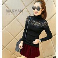 韩版蕾丝拼接打底衫女个性时尚修身高领显瘦长袖针织衫上衣