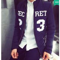新款印花休闲开衫立领运动棉衣男韩版修身个性时尚休闲男士棉衣