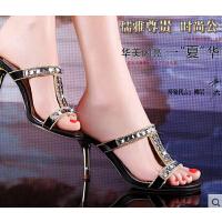 莫蕾蔻蕾 新款甜美拖鞋高跟AAA级捷克钻细跟凉拖时尚水钻女鞋