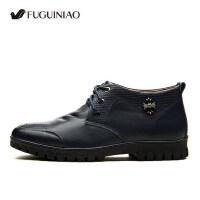 富贵鸟新款男鞋头层真皮系带高帮鞋商务加绒保暖休闲皮鞋D405383R