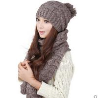 新款时尚百搭韩版女帽子围巾两件套一体保暖二件套