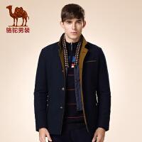骆驼男装 新品冬款修身青年双层领单排扣纯色时尚绅士长袖棉服男