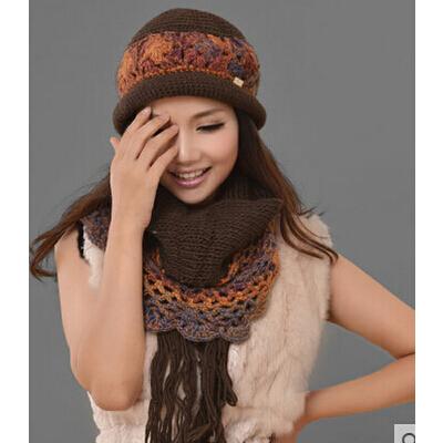女款新款时尚休闲帽子 围巾两件套 女士 套帽 保暖手工编织羊毛线帽