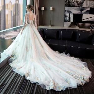 白领公社 婚纱 婚庆礼服新款春夏季新娘一字肩显瘦长袖长拖尾演出服女晚礼服连衣裙 婚礼礼服
