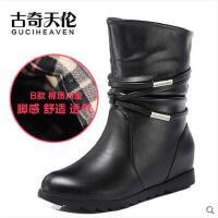 古奇天伦 平底短靴加绒保暖内增高女靴潮流套筒女鞋潮靴棉鞋733-2
