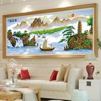 悟客WUKE 精准印花十字绣新款客厅书房办公室一帆风顺大版 1米大幅山水风景画简约现代系列