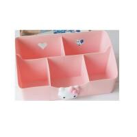 日照鑫 包邮 创意卡通kt凯蒂猫hellokitty客厅办公桌面塑料收纳盒化妆品整理盒(一个装)