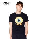 NSNF纯棉手绘卡通图案黑色短袖T恤 2017年春夏新款