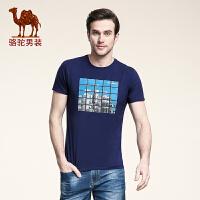 骆驼男装 夏季新款青年短袖圆领T恤上衣衫 日常休闲时尚修身男士