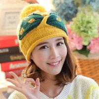 韩版大蝴蝶结毛线帽 卷边套头绒线帽 保暖女帽