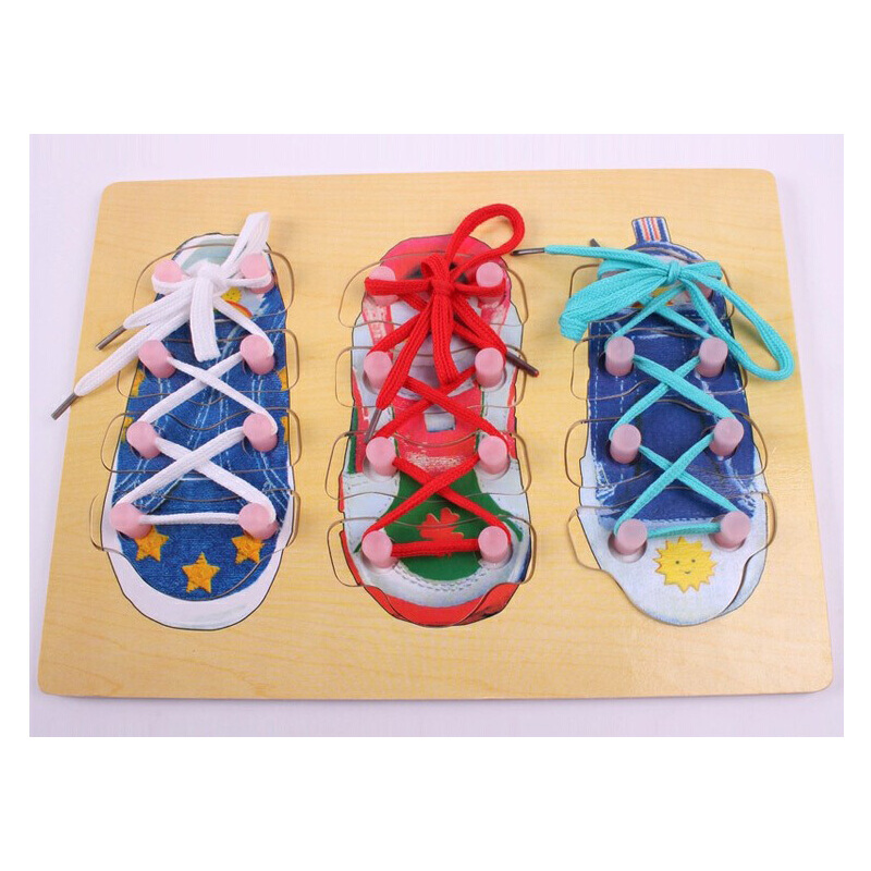 木质益智儿童玩具 穿鞋带绑系鞋带 拼嵌板 穿线板 幼儿园区角材料