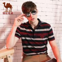 camel骆驼男装 春季新款男士短袖T恤 商务休闲衬衫领夏季青年衣