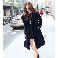 女个性时尚中长款宽松净色羊绒呢子大衣潮新款毛呢风衣外套