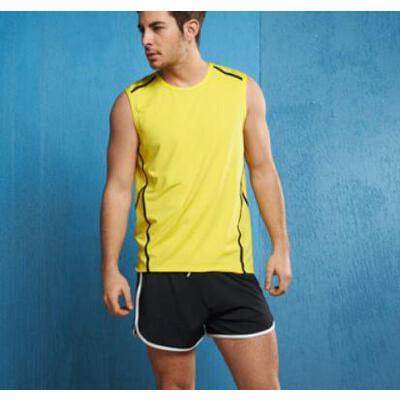新款吊灯健身房运动服v吊灯衣短裤时尚服男款黄色套装背心_3293教练客厅铁艺中式瑜伽图片