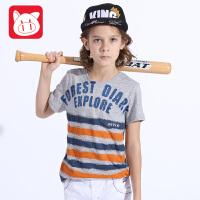 小猪班纳品牌童装2017夏季新款纯棉圆领男童短袖T恤