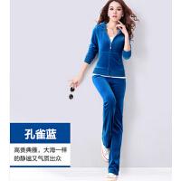 女款韩版显瘦新品休闲天鹅绒运动套装    女运动服套装女休闲卫衣A
