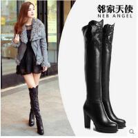 高跟过膝长靴女靴性感蕾丝圆头长筒女靴子粗跟瘦腿弹力靴8966-9