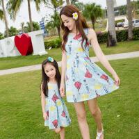 白领公社 亲子装 夏装新款韩版母女装时尚休闲人物图沙滩裙短袖公主连衣裙女宝宝连衣裙