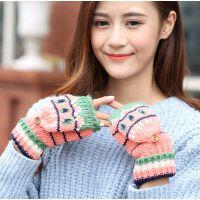 新款可爱翻盖露指女士韩版双层加绒冬百搭时尚半指手套