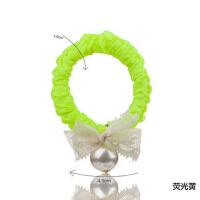 人造珍珠蕾丝头绳头花发饰 蝴蝶结发绳皮筋扎头发发圈