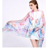 新款个性时尚休闲桑蚕丝真丝丝巾高档围巾丝巾两用女士韩版长款披肩